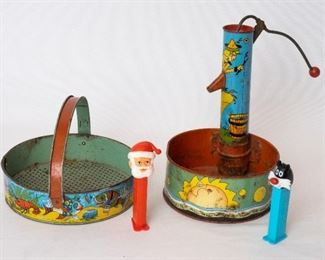 Antique Tin Water and sand Toys and Pez dispensers