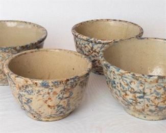 4 Spongeware Bowls