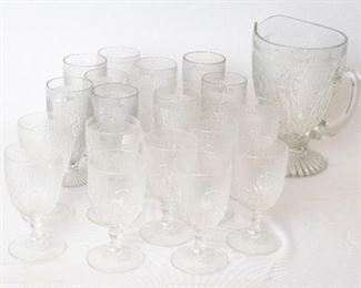 Jeannette Iris Footed Tumblers and Pitcher