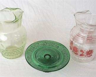 2 pitchers and Green Glass Serving plate.