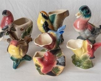 7 vintage Ceramic Bird Vases