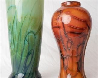 2 Large hand made Glass Vases