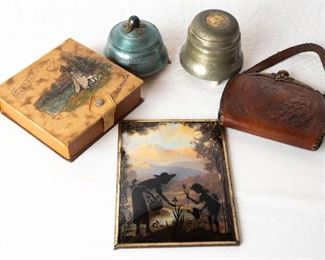 Vintage Box, Music Boxes Tooled Leather Rev Paint