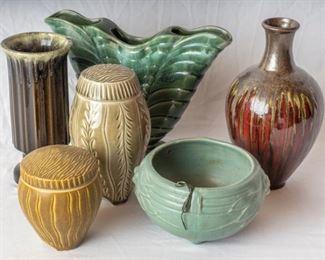 5 ceramic vases one PRP Co Roseville
