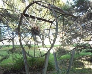 """Buy-It Now Vintage Steel Garden Architecture $500.00 8' Tall To Top Of Wheels, 50"""" Wide, 6"""" Wide At Base,   44"""" Wheels"""