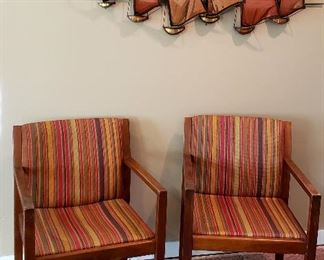Danish arm chairs & copper wall art