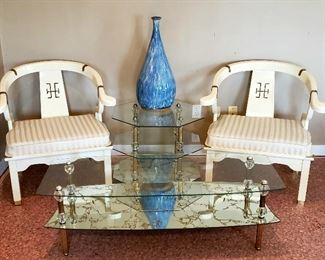 Mid century modern arm chairs, three tier glass & brass end table & matching shelf coffee table