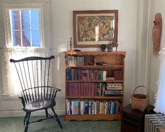 Living room  Windsor Chair, Bookcase, Vintage books,