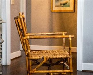 "Lot 2- Bamboo Chair w/ Woven Seat, in Great Shape, 36"" h x 25 1/2"" w x 22"" d, $75"