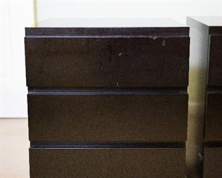 "Lot 4- Pair of Moduli Muurame Bedside Tables by Pirkko Stenros, Light Damage on Top & Sides, 26"" h x 20 1/2"" w x 21 1/2"" d, $250"