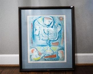 "Lot 1- Framed & Signed Irving  Amen ""Sabbath Eve"" Lithograph, 30 1/2"" h x 23"" w, $800"