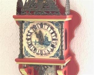 Dutch Zaanse Zaandam Wuba Wall Clock Delft25x10.75x6HxWxD