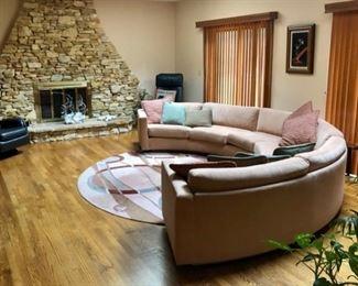 Vintage Thayer Coggin semi circle vintage sofa & Studio DR rug