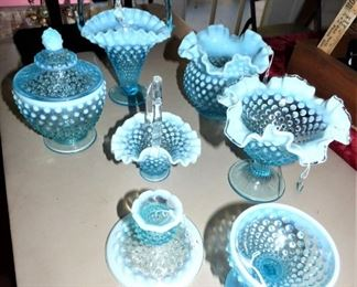Fenton Opalescent French Blue Hobnail Items