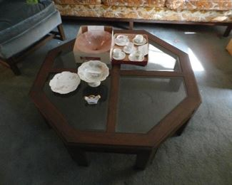 Octagon Coffee Table with Glass Panels