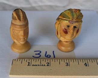 361 - Pair of heads, $18. On stands. Tagua VGC