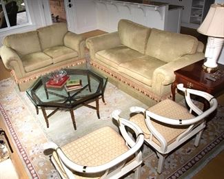 Charles Stewart Sofa 80 inch 295.00 and Love Seat 5ft 195.00 - Call Diane to Purchase 205 799-4166.    Coffee table SOLD