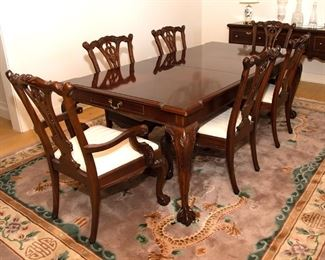 Dining Table and Chairs - Table 68 - 86 - 104 in long x 44 in wide - 425.00 - Call Diane to Purchase 205 799-4166