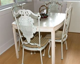 Table and Metal Chairs - Table without leaf 44 1/2 long x 36 1/2 wide - 225.00 - Call Diane to Purchase 205 799-4166