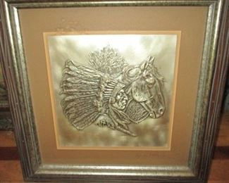 """""""The Chieftain"""" By Gordon Phillips ~ One of Four Silver Wall Sculptures in The Collection 'The Westerners""""  1976 The Franklin Mint"""