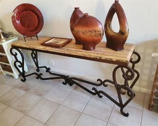 Rustic Entryway Table with Iron Frame and Wood Top From Mexico