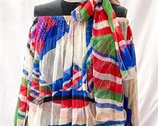 Chanel colorful sheer off-shoulder blouse and matching scarf. Fits a range of sizes due to stretchy top and bottom. Best for size Medium or Large. Minor wear. $385