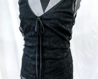 """Chanel black cotton/nylon lace tank with removable black silk tank under. Marked """"44"""". Excellent condition. Measured flat: 18"""" bust; 16"""" waist; 18"""" hip; 26"""" total length; 2"""" sleeve width. $330"""