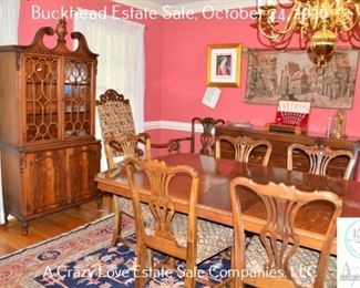 Dining Room Table and Chairs, China Cabinet, Sideboard, Rug, Art