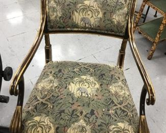A set of 7 empire style chairs with wonderful tropical upholstery