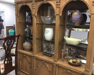 large vintage wooden two piece display cabinet