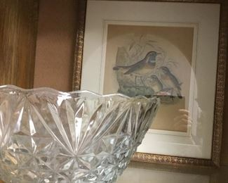 Vintage bird print and large pressed glass bowl