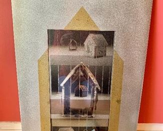 "$395 - Ken and Julie  Girardini -  Metal House Painting - Three dimensional mixed media; metal background with photographs and small metal house protruding from background - 3.5""H x 18""W"