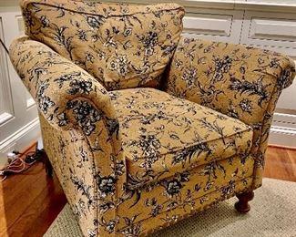 "$795 - One Henredon toile, arm chair - 38"" W, 34.5"" D, 35"" H."