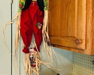 Scarecrow $7. Stone bird house $22. Wooden box $5. Large burlap bow $1.