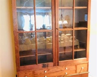 """Gorgeous 19th Century pine cupboard. Wide-board construction. Square nails. 49"""" wide x 79.5"""" tall x 15"""" deep $750."""