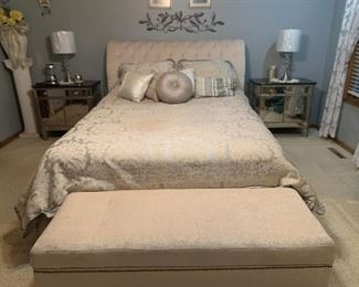 Queen Bed w/Bedding & Coordinating Storage Bench - $500.00