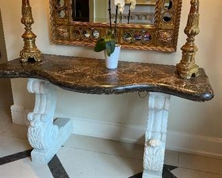 """Marble top console table originally $8500 60""""w x 22""""d x 31""""h stunning!  $2100. Other items sold in following photos"""