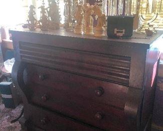 antique dresser growing crystals
