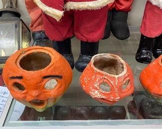 Old Paper Mache Halloween Pumpkins
