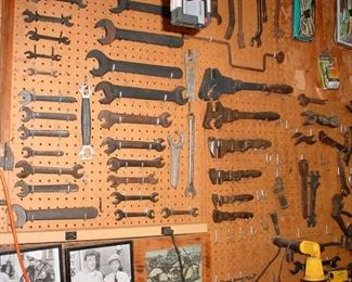 Collections of vintage hand tools, such as full set of wooden handle pipe wrenches