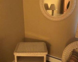 wicker storage table & mirror