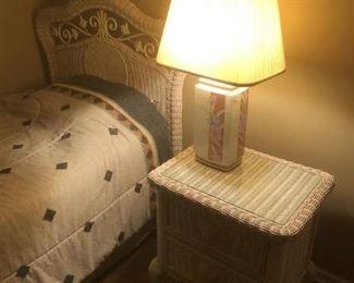 wicker nightstand and twin bed headboard