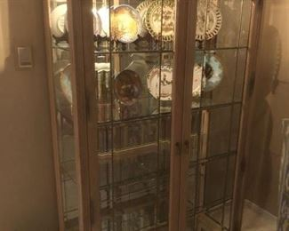 """mirrored lit curio cabinet w/glass shelves stands 80"""" tall"""