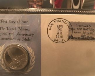 1 oz silver medal on first day cover issued by UN - 1970
