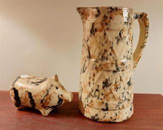 Splatterware pig and pitcher
