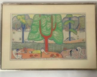 One of 2 signed Marguerite Zorach watercolors on Silk in this auction! Circa 1913.
