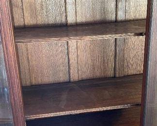Antique Oak Curved Glass Curio Cabinet59.5x46x16inHxWxD