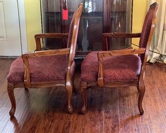 2pc Carved Wood Upholstered Chairs PAIR39x28x17inHxWxD