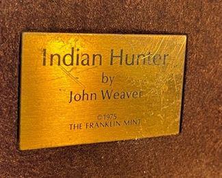 Franklin Mint Indian Hunter John Weaver Bronze 197510.5x4x11.5inHxWxD