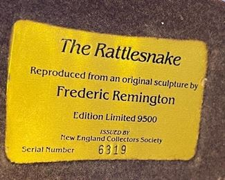 AS-IS The Rattlesnake Frederic Remington Resin Statue7x7x4inHxWxD